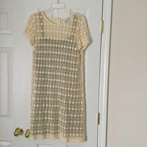 Dresses & Skirts - Chico's sz 2 (12/14) cream lace dress, short sleve